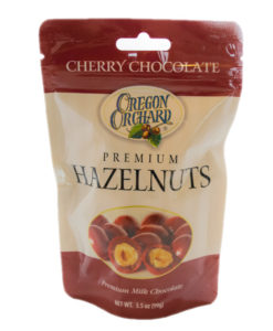 Oregon Orchard Cherry Chocolate Coated Premium Hazelnuts, 3.5 oz (Front)