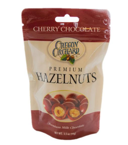 Oregon Orchard Cherry Chocolate Coated Premium Hazelnuts, 3.5 oz (Front)