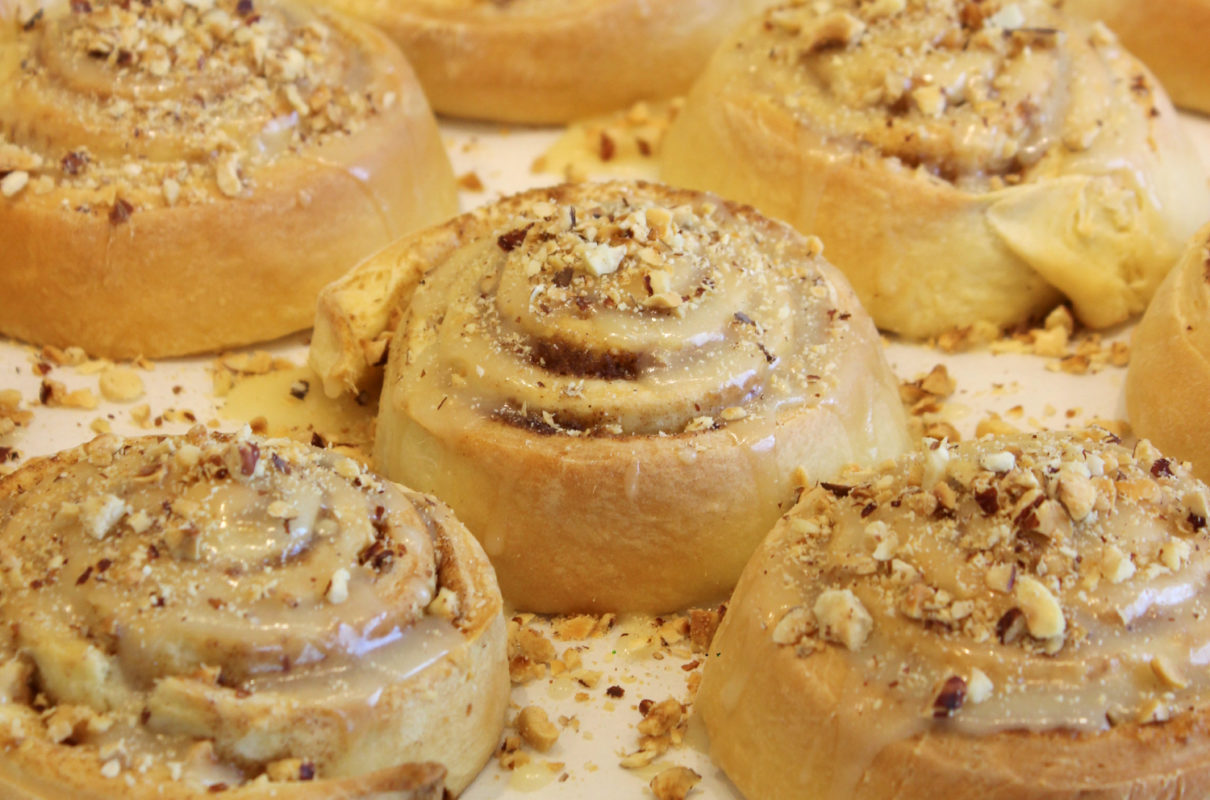 Hazelnut Cinnamon Rolls on a pan